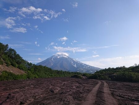 A muddy dry road leads to the volcano. Green bushes, blue sky, white clouds. Kamchatka. Russia.