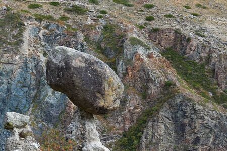 Nature phenomenon and miracle Stone Mushrooms rocks in Altai mountains near river Chulyshman. Siberia. Russia. Stok Fotoğraf - 132615252