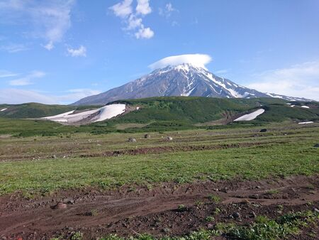 Snow-capped volcano in the distance. Muddy field and green bushes in the foreground. The top is covered with a white cloud. Blue sky. Kamchatka. Russia. Stok Fotoğraf