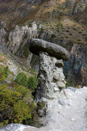Nature phenomenon and miracle Stone Mushrooms rocks in Altai mountains near river Chulyshman. Siberia. Russia.
