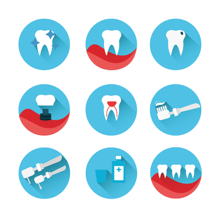 filling equipment: Flat style vector dental icons set on colorful web buttons showing a dentist examination caries implant toothbrush antibiotics crown filling x-ray braces and equipment