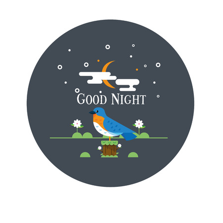 Vector background of a night scene in the sky. Vectores