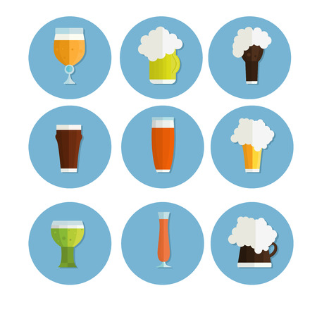 cups silhouette: Beer vector icons set. Beer bottle, beer glass and beer label. Beer cups silhouette, beer vector icons, beer isolated. Oktoberfest beer vector set.