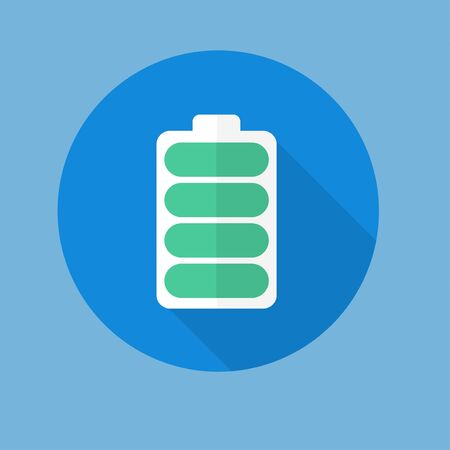 stamina: Abstract battery icon button for websites UI or applications app for smartphones or tablets. Pictogram