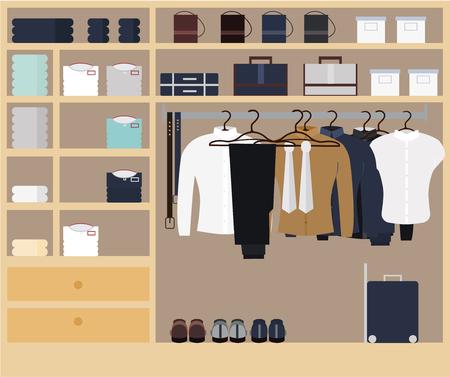 Wardrobe room full of men s cloths. Ilustração