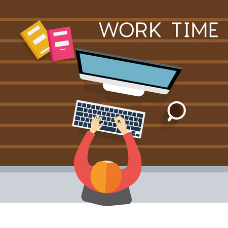 hectic: Businessman hard work on office vector illustration Illustration