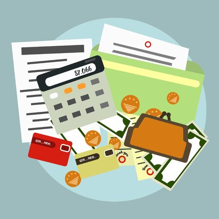 accounts: Finance, accounts , delivery . The calculator  documents money  Vector illustration Illustration