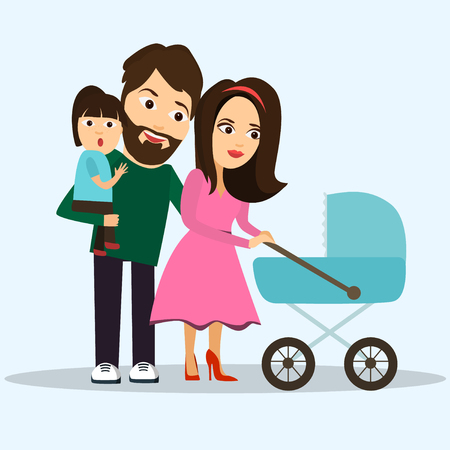 People . Most young family , kids and parents happy , vector Illustration