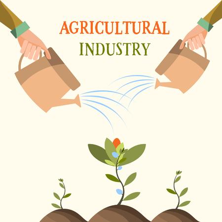 、花を育てる農業農業。バック グラウンド プロセス。ベクトル図