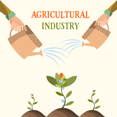 Growing flowers , Agriculture farming.The background process . Vector illustration Ilustração