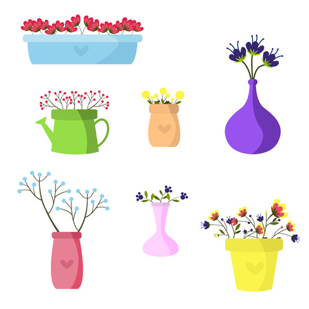 A Beautiful Set Of Flowers In Colored Vases Vector Illustration