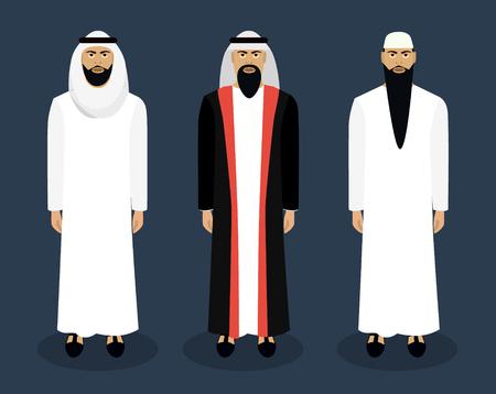 nationality: Arab male character set. Sheikh, Nationality Vector illustration Illustration
