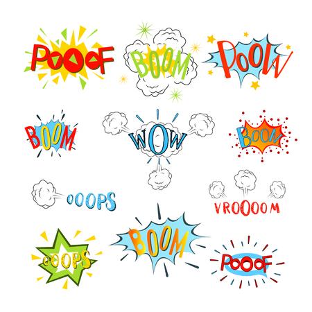 sounds: Comic speech bubbles set. Design cartoon, graphic communication, vector