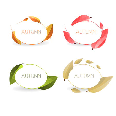 dry leaf: Four autumn banners with colorful leaves in golden frames. Vector .