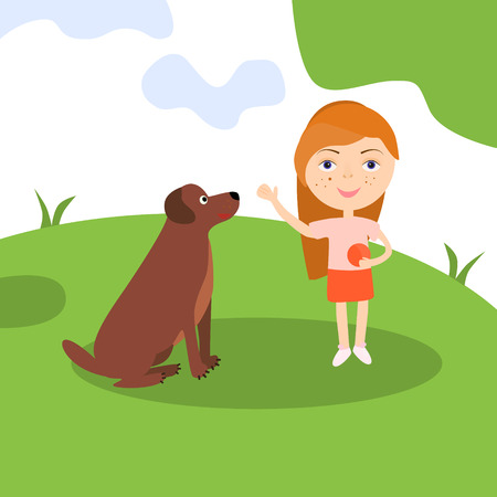 Happy girl with dog. Lady sitting playing and teaching her pet. Vector . Illustration