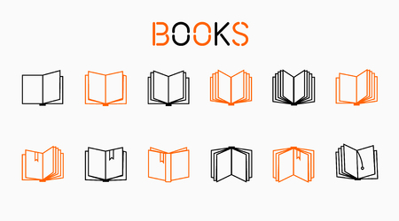 Book thin icons, included normal and enable state.Vector
