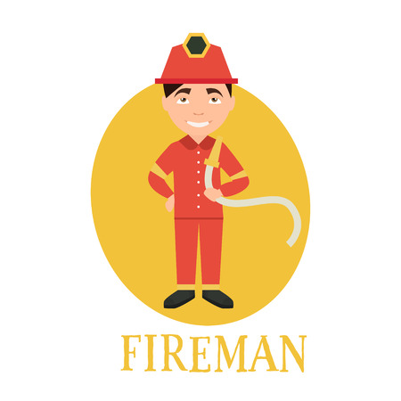 fireman: Profession fireman. young man working as a fireman . vector illustration