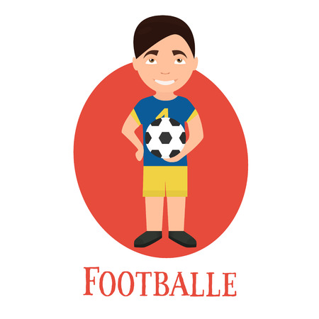 Profession footballer , a young man of character. vector illustration