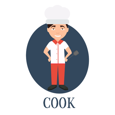 Occupation chef , a young man of character. Vector illustration Illustration