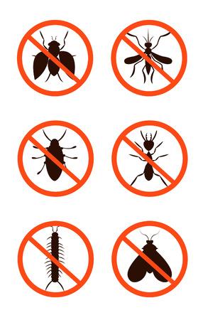 Conjunto de control de plagas. nocivas, escarabajos, insectos, ilustración vectorial Foto de archivo - 62784194