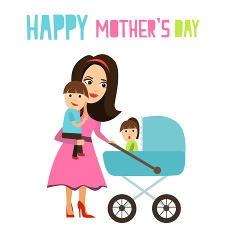 Joyful Mother walks with children. Vector illustration