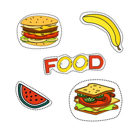 bad banana: Fashion patch badges with lips, hearts, speech bubbles, stars and other elements.