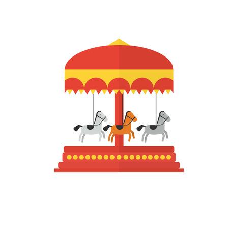 the children s: Children s carousel, flat style . Amusement park vector illustration Illustration