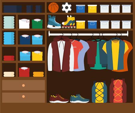 Male wardrobe .muzhskaya clothes in the closet , sporty style .  illustration Reklamní fotografie
