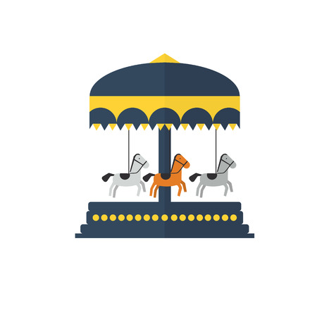 children s: Children s carousel, flat style . Amusement park vector illustration Illustration