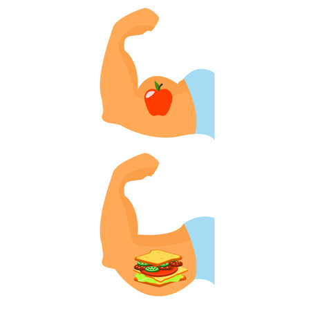 disturbed: Sports . Life style . Correctly food Vector illustration
