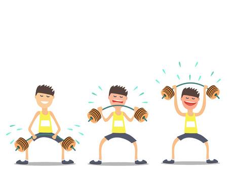 Sportler Gewichtheber Übungen schwierig .Vektor Illustration
