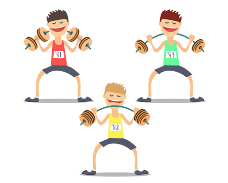 difficult: athlete weightlifter doing exercises difficult .Vektor illustration Illustration