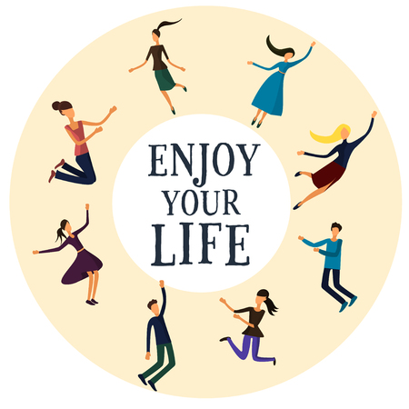 enjoy life: Group of young people enjoy life . Vector illustration