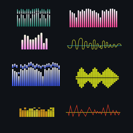 rnb: Vector sound waves set. Music colorful elements for your design.Vector