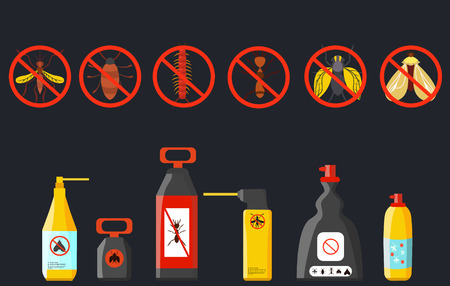 pathogens: Set insecticides . Spray for mosquitoes , beetles  Vector illustration