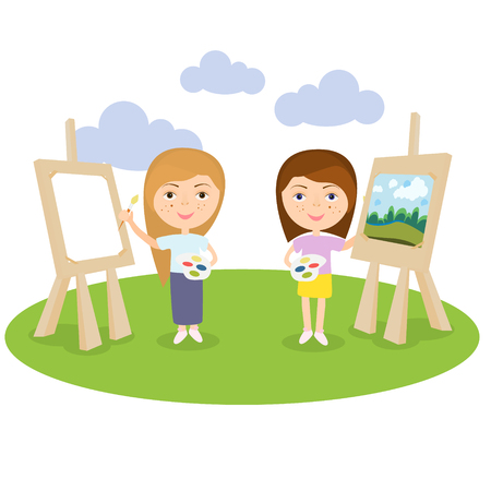 artist female or girl painting on canvas with art icons. character design.