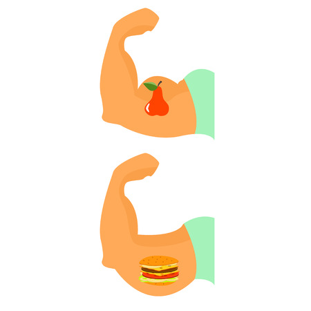 Exercise and healthy eating . Creative example of proper nutrition.Vector