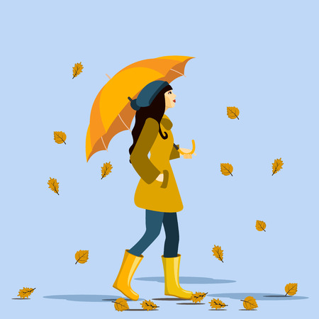The girl goes with an umbrella in the rain . Autumn time . Vector illustration Illustration