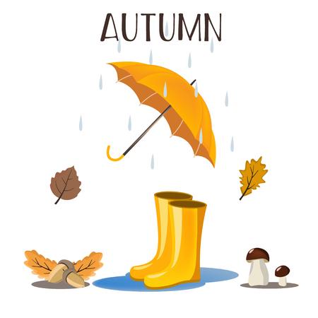 Autumn beautiful background. Rain falling leaves.Vektor illustration