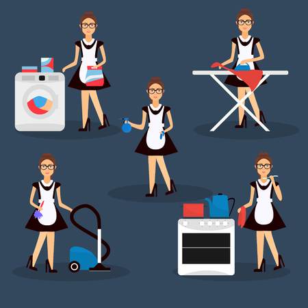 vacuum cleaner worker: Multitasking housewife Vector illustration. Housekeeper woman ironing, cleaning, cooking and washing Illustration