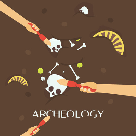 hunters: Archeology science. Ancient fossils. Discovering a jug, treasure hunters ancient artifacts. Historical