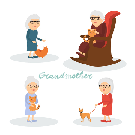 A set of characters grandmother with a cat, a dog . Illustration