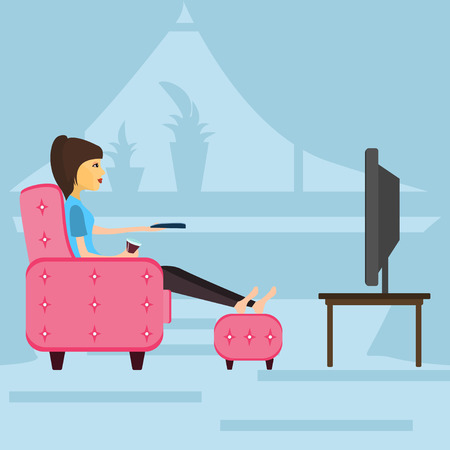 laziness: girl resting , watching television sitting on the couch . vector illustration Illustration