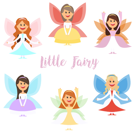 Little fairy girls whith wings and in ball dresses. . Vector