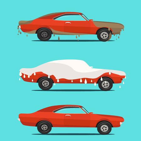 dirty car: Cool vector flat illustration on dirty and clean car. Car wash stages process from dirty to clean.