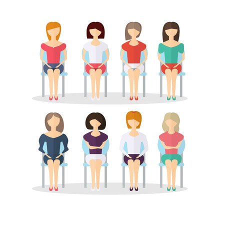 The characters of people sitting on a chair . Waiting hall . Vector