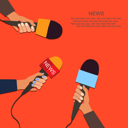 Microphones and voice recorder in hands of reporters on press conference or interview. Journalism concept. Illustration