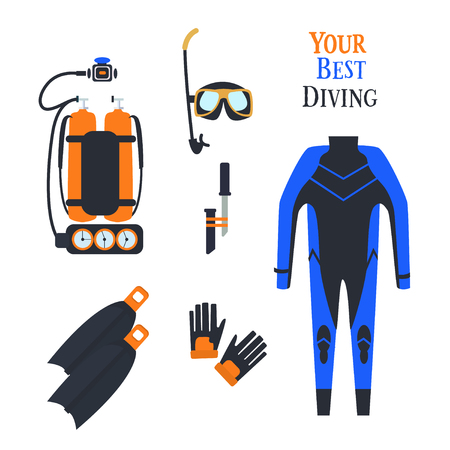 Set for diving sports. Set .kostyum immersion in water, Balon air . Vector illustration
