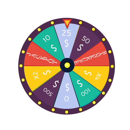 wheel of fortune: Fortune wheel in flat style. Game money, winner play luck. Vector illustration