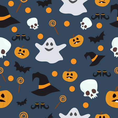 undomesticated: Vector seamless pattern for Halloween. Pumpkin, ghost, bat, candy, and other items on Halloween theme. Bright cartoon pattern for Halloween